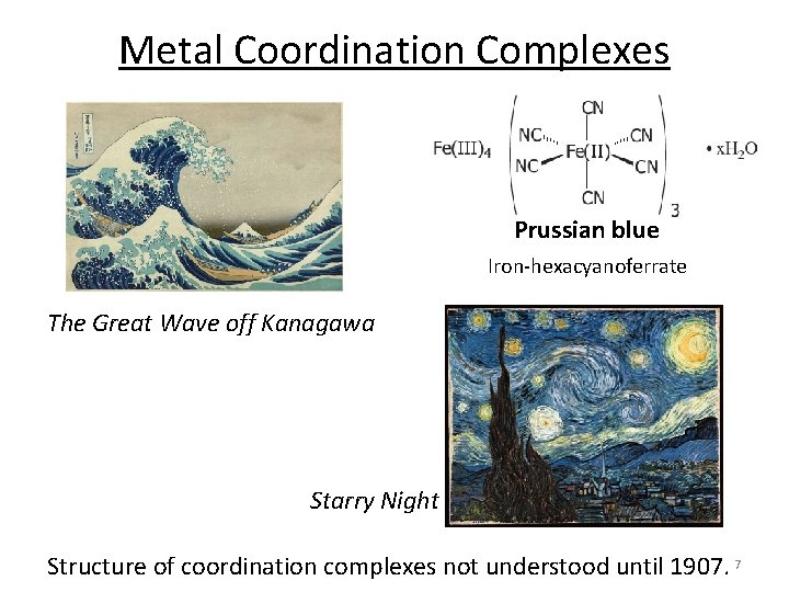 Metal Coordination Complexes Prussian blue Iron‐hexacyanoferrate The Great Wave off Kanagawa Starry Night Structure