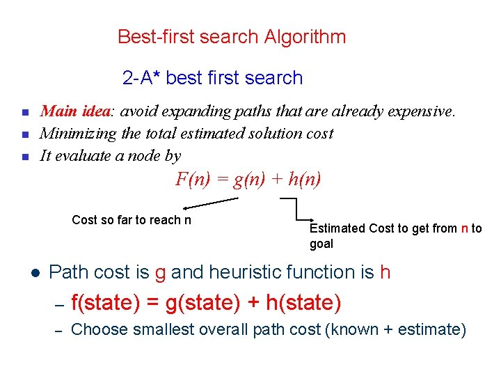 14 Best-first search Algorithm 2 -A* best first search n n n Main idea: