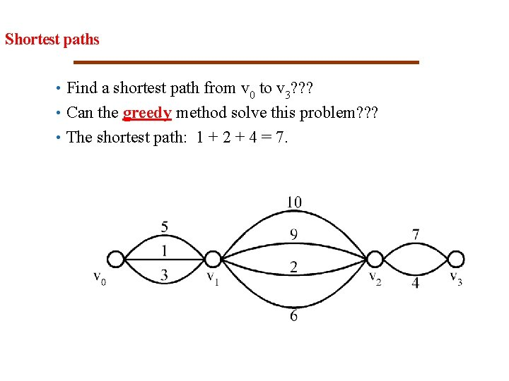 21 Shortest paths • Find a shortest path from v 0 to v 3?