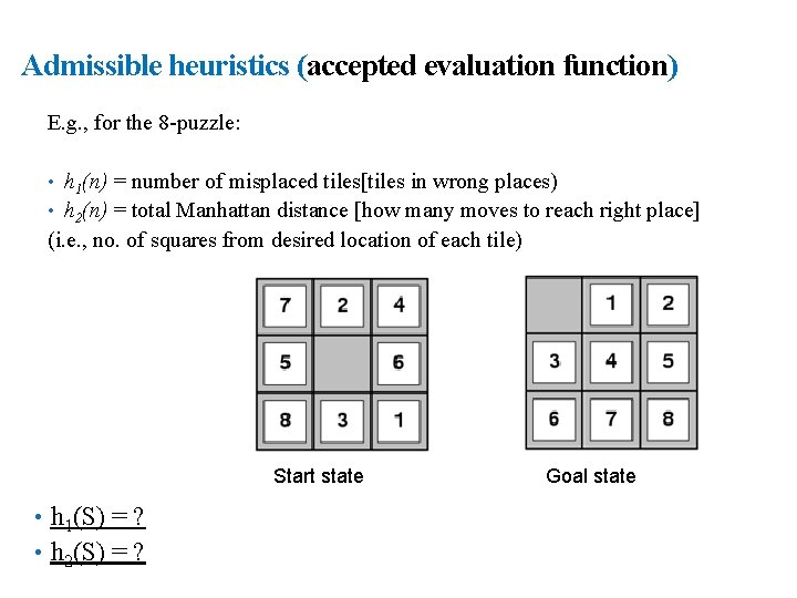 23 Admissible heuristics (accepted evaluation function) E. g. , for the 8 -puzzle: •