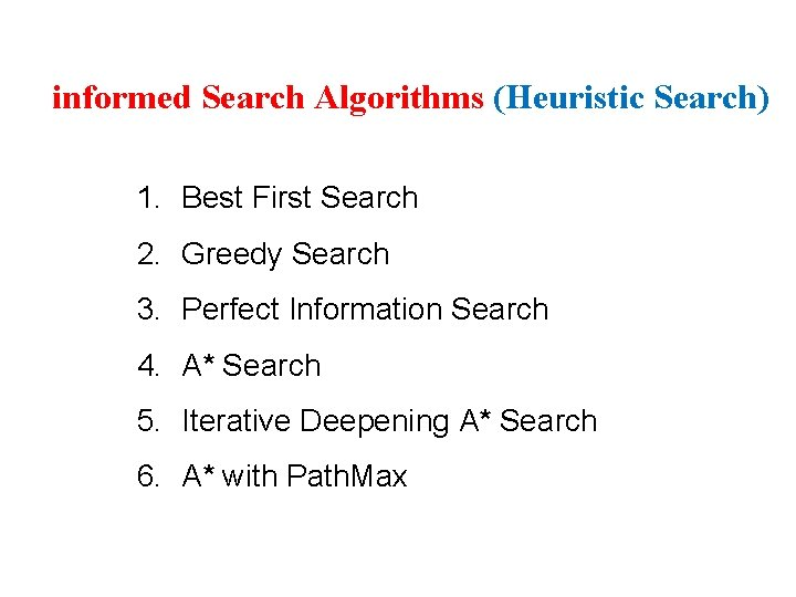 3 informed Search Algorithms (Heuristic Search) 1. Best First Search 2. Greedy Search 3.