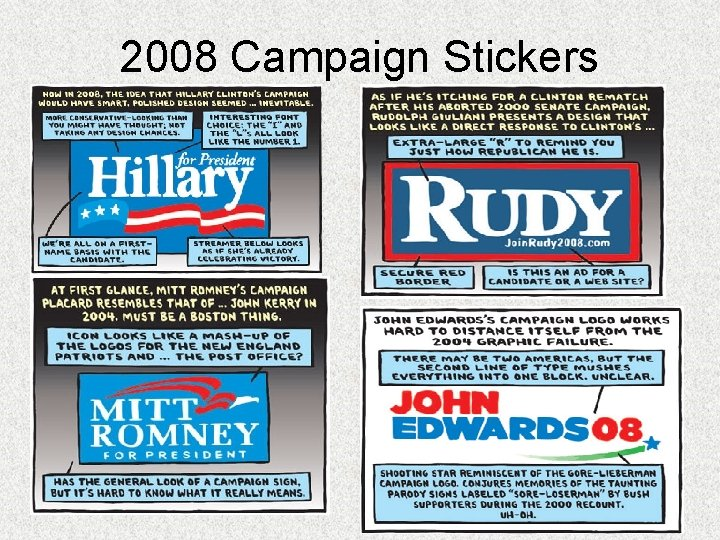 2008 Campaign Stickers