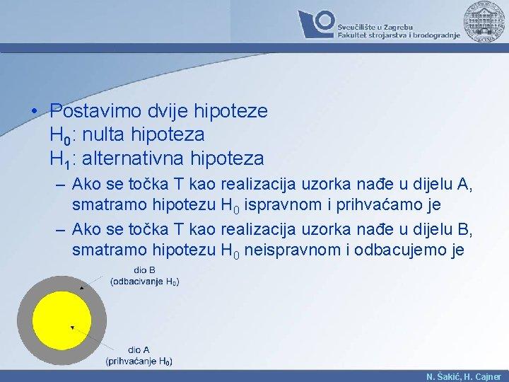 • Postavimo dvije hipoteze H 0: nulta hipoteza H 1: alternativna hipoteza –