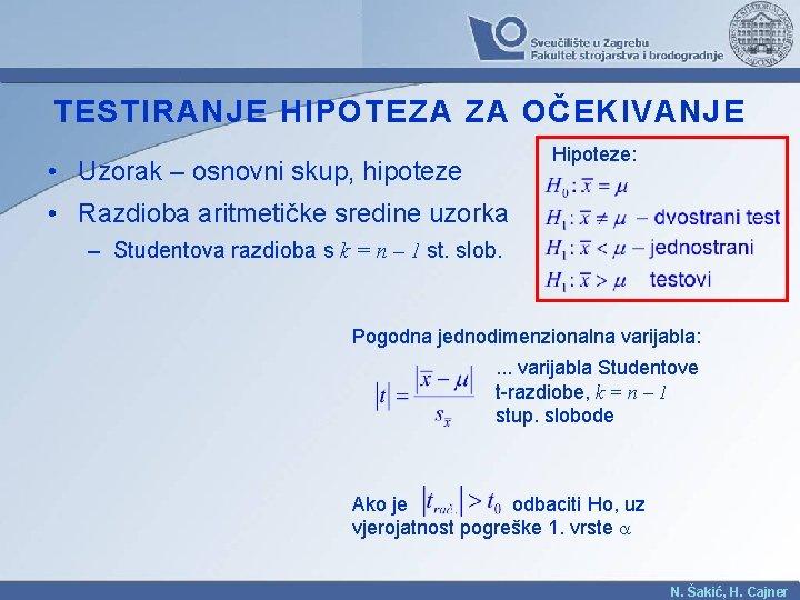 TESTIRANJE HIPOTEZA ZA OČEKIVANJE Hipoteze: • Uzorak – osnovni skup, hipoteze • Razdioba aritmetičke