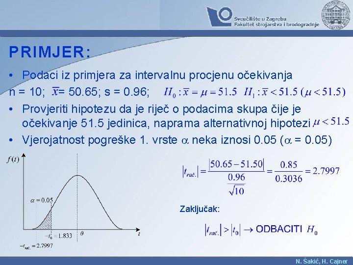 PRIMJER: • Podaci iz primjera za intervalnu procjenu očekivanja n = 10; = 50.
