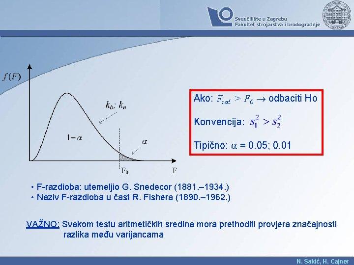 Ako: Frač. > F 0 odbaciti Ho Konvencija: Tipično: = 0. 05; 0. 01
