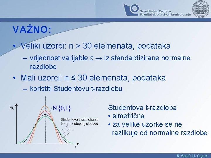 VAŽNO: • Veliki uzorci: n > 30 elemenata, podataka – vrijednost varijable z →