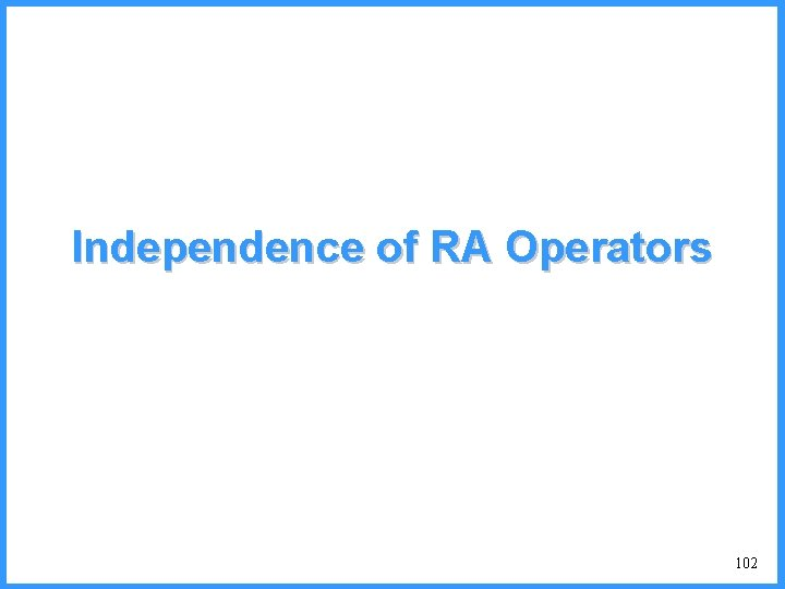 Independence of RA Operators 102
