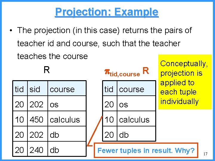 Projection: Example • The projection (in this case) returns the pairs of teacher id
