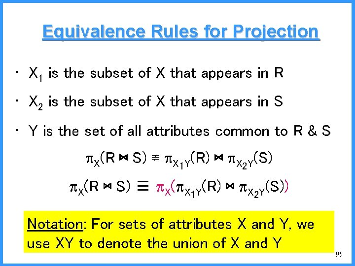 Equivalence Rules for Projection • X 1 is the subset of X that appears