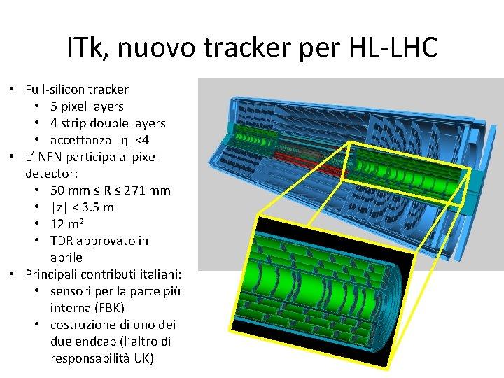ITk, nuovo tracker per HL-LHC • Full-silicon tracker • 5 pixel layers • 4