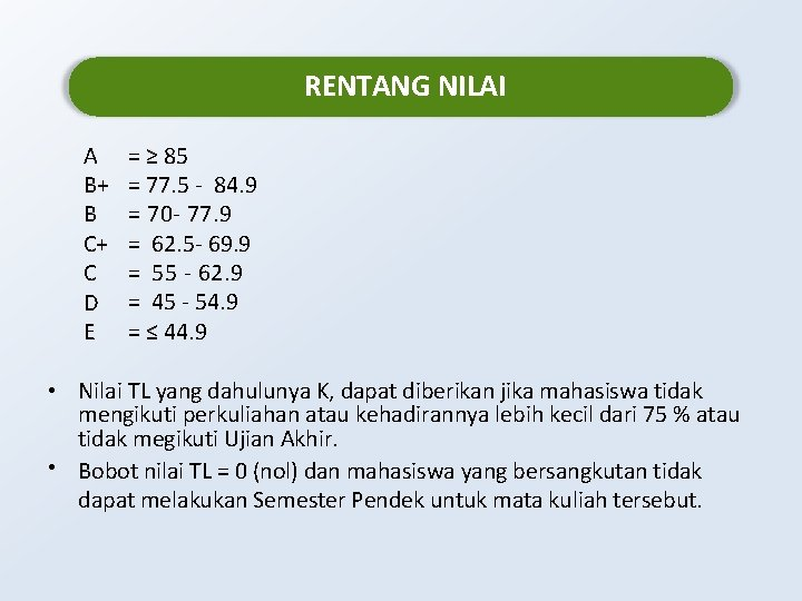 RENTANG NILAI A B+ B C+ C D E = ≥ 85 = 77.