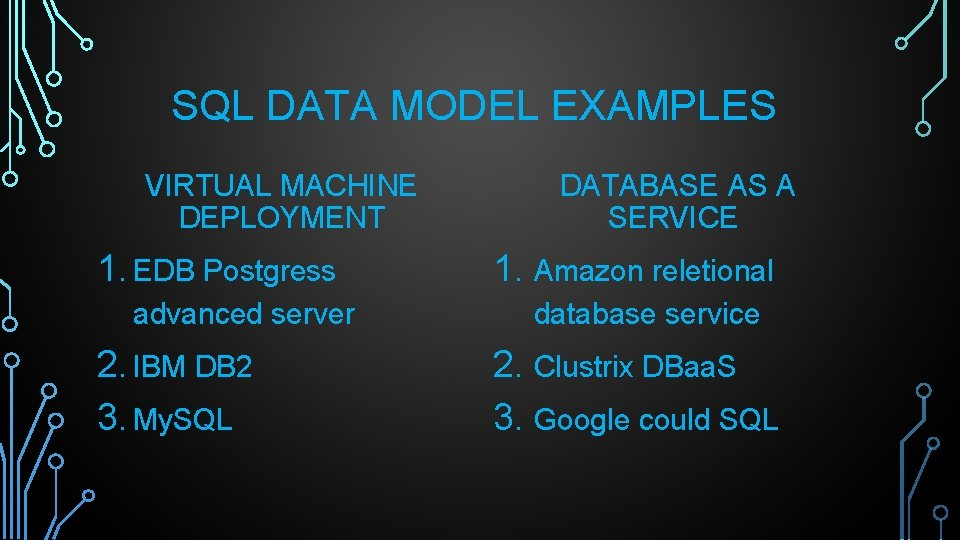 SQL DATA MODEL EXAMPLES VIRTUAL MACHINE DEPLOYMENT 1. EDB Postgress advanced server 2. IBM