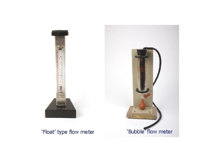 'Float' type flow meter 'Bubble' flow meter