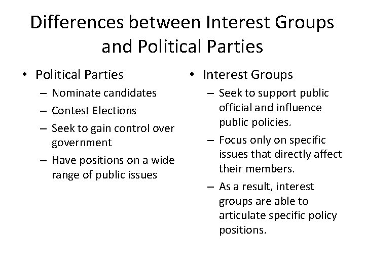 Differences between Interest Groups and Political Parties • Political Parties – Nominate candidates –