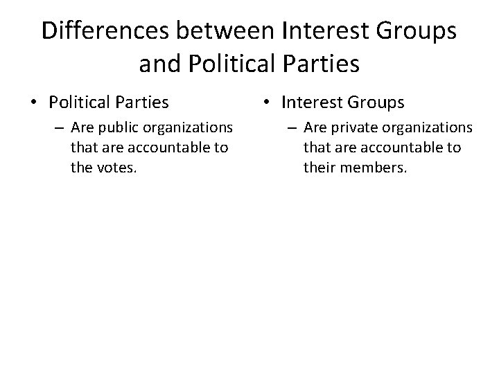 Differences between Interest Groups and Political Parties • Political Parties – Are public organizations