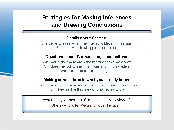 Strategies for Making Inferences and Drawing Conclusions Details about Carmen: She began to sweat