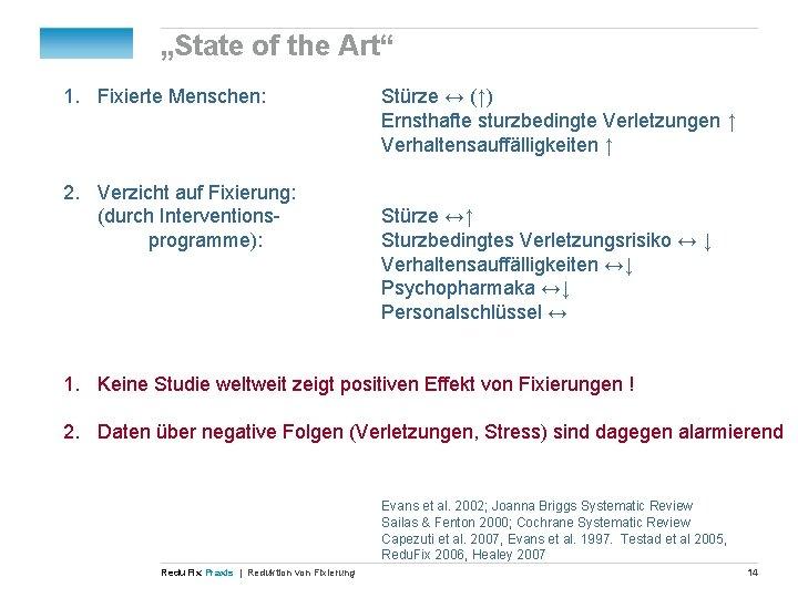 """""""State of the Art"""" 1. Fixierte Menschen: 2. Verzicht auf Fixierung: (durch Interventionsprogramme): Stürze"""