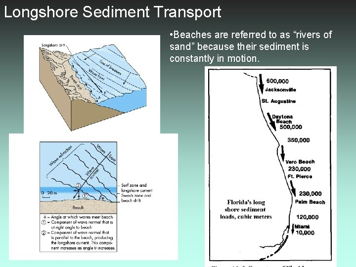 """Longshore Sediment Transport • Beaches are referred to as """"rivers of sand"""" because their"""