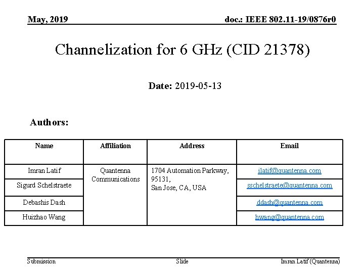 May, 2019 doc. : IEEE 802. 11 -19/0876 r 0 Channelization for 6 GHz