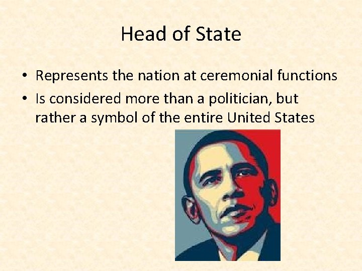 Head of State • Represents the nation at ceremonial functions • Is considered more