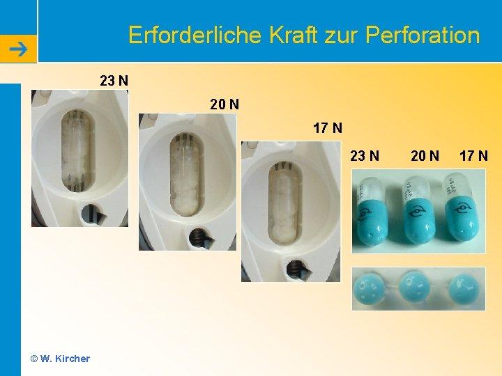 Erforderliche Kraft zur Perforation 23 N 20 N 17 N 23 N © W.