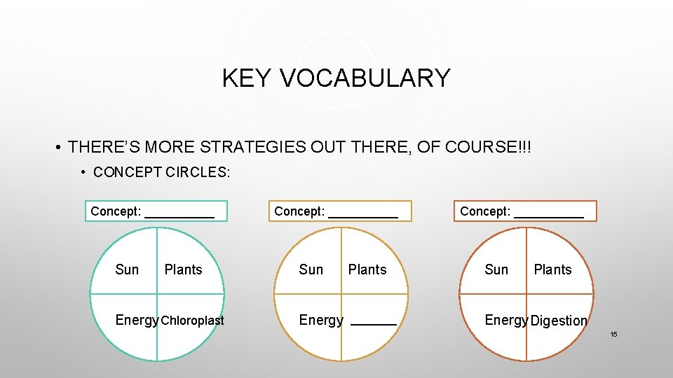 KEY VOCABULARY • THERE'S MORE STRATEGIES OUT THERE, OF COURSE!!! • CONCEPT CIRCLES: Concept: