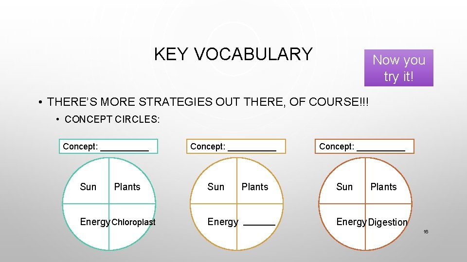 KEY VOCABULARY Now you try it! • THERE'S MORE STRATEGIES OUT THERE, OF COURSE!!!