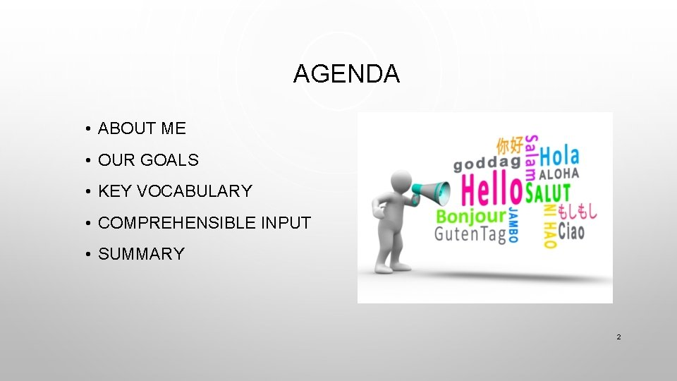 AGENDA • ABOUT ME • OUR GOALS • KEY VOCABULARY • COMPREHENSIBLE INPUT •