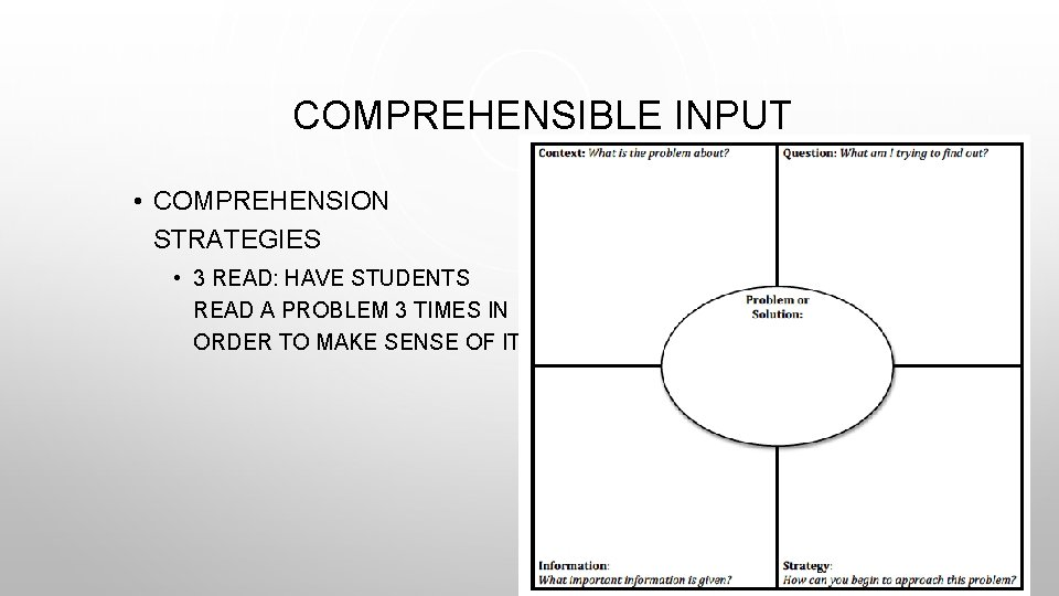 COMPREHENSIBLE INPUT • COMPREHENSION STRATEGIES • 3 READ: HAVE STUDENTS READ A PROBLEM 3
