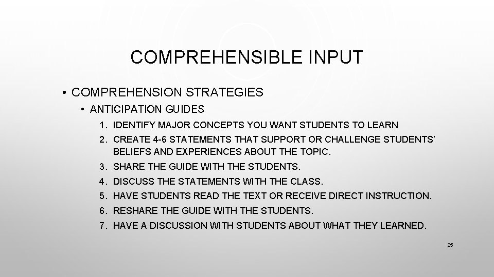 COMPREHENSIBLE INPUT • COMPREHENSION STRATEGIES • ANTICIPATION GUIDES 1. IDENTIFY MAJOR CONCEPTS YOU WANT