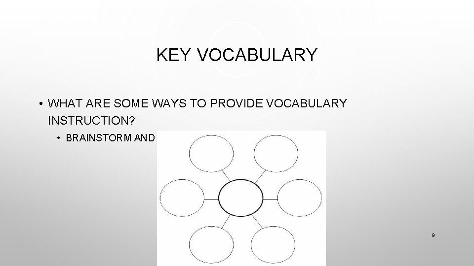 KEY VOCABULARY • WHAT ARE SOME WAYS TO PROVIDE VOCABULARY INSTRUCTION? • BRAINSTORM AND