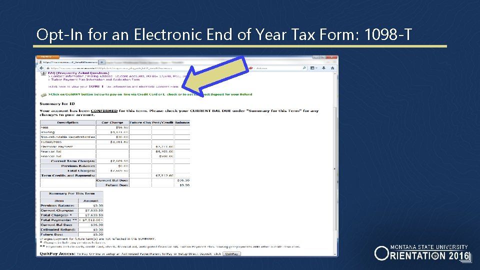 Opt-In for an Electronic End of Year Tax Form: 1098 -T