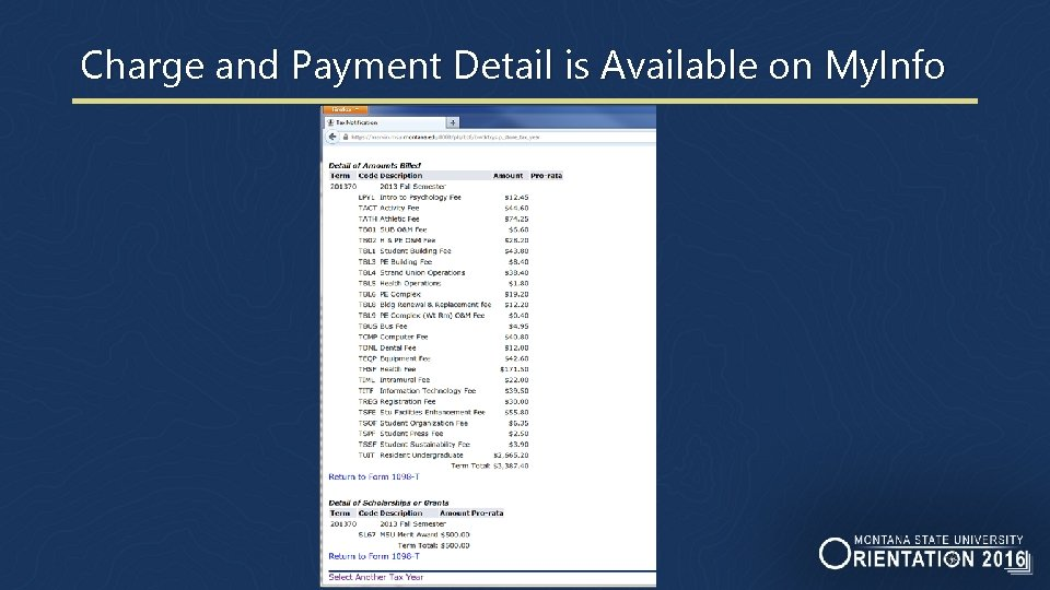 Charge and Payment Detail is Available on My. Info