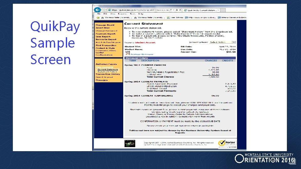 Quik. Pay Sample Screen