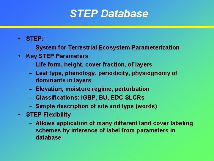 STEP Database • STEP: – System for Terrestrial Ecosystem Parameterization • Key STEP Parameters