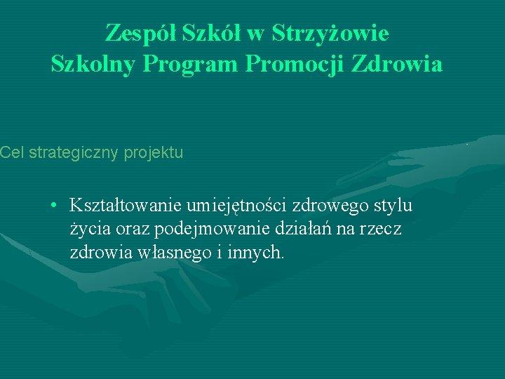Zespół Szkół w Strzyżowie Szkolny Program Promocji Zdrowia Cel strategiczny projektu • Kształtowanie umiejętności