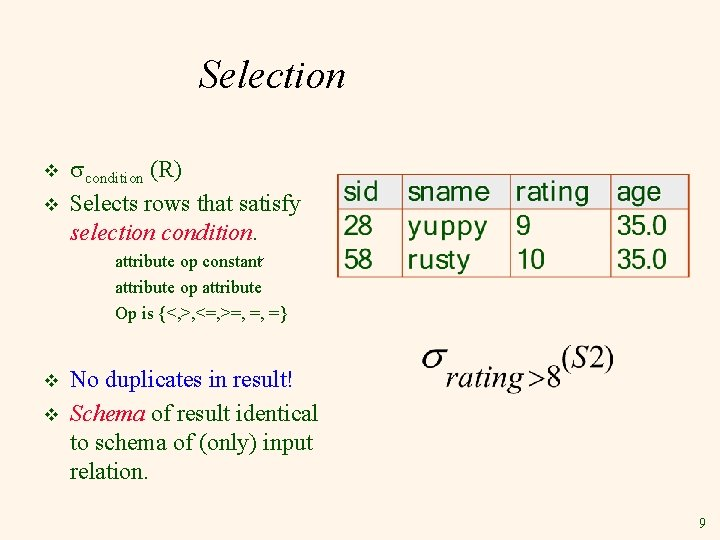 Selection v v condition (R) Selects rows that satisfy selection condition. attribute op constant