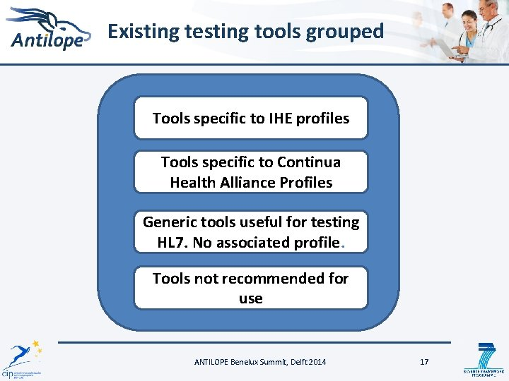 Existing testing tools grouped Tools specific to IHE profiles Tools specific to Continua Health