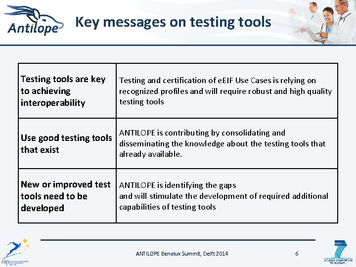 Key messages on testing tools Testing tools are key to achieving interoperability Testing and