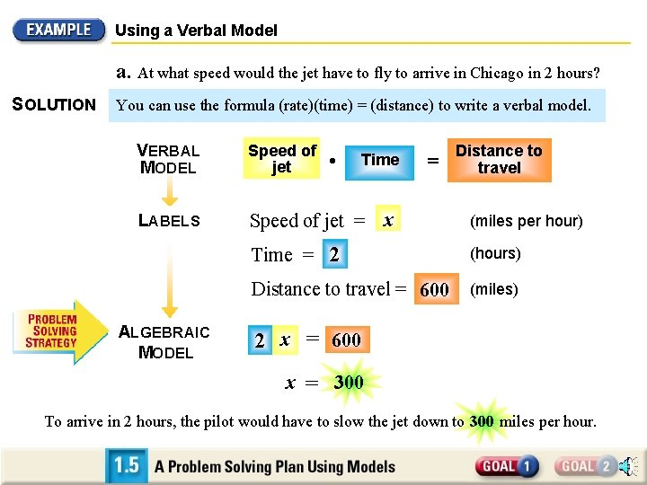 Using a Verbal Model a. At what speed would the jet have to fly