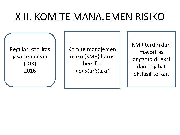 XIII. KOMITE MANAJEMEN RISIKO Regulasi otoritas jasa keuangan (OJK) 2016 Komite manajemen risiko (KMR)
