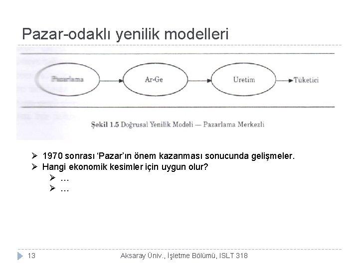 Pazar-odaklı yenilik modelleri Ø 1970 sonrası 'Pazar'ın önem kazanması sonucunda gelişmeler. Ø Hangi ekonomik