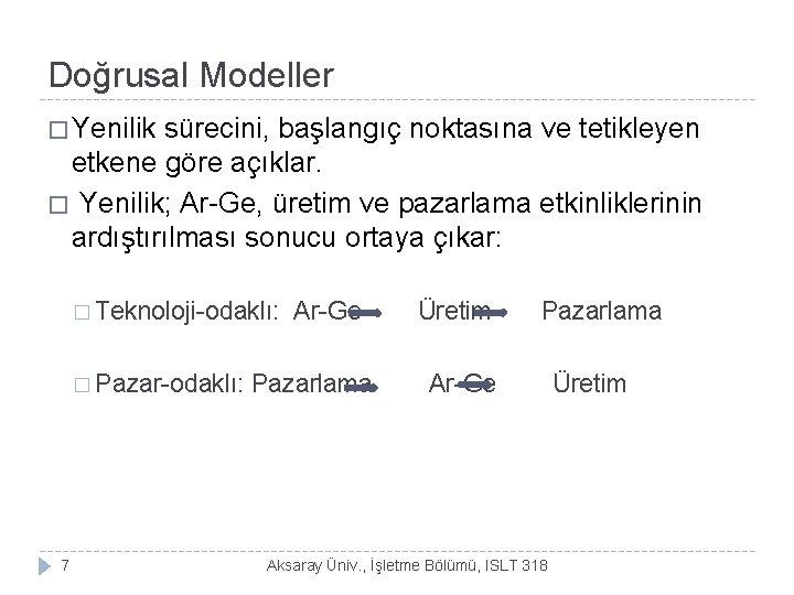 Doğrusal Modeller � Yenilik sürecini, başlangıç noktasına ve tetikleyen etkene göre açıklar. � Yenilik;