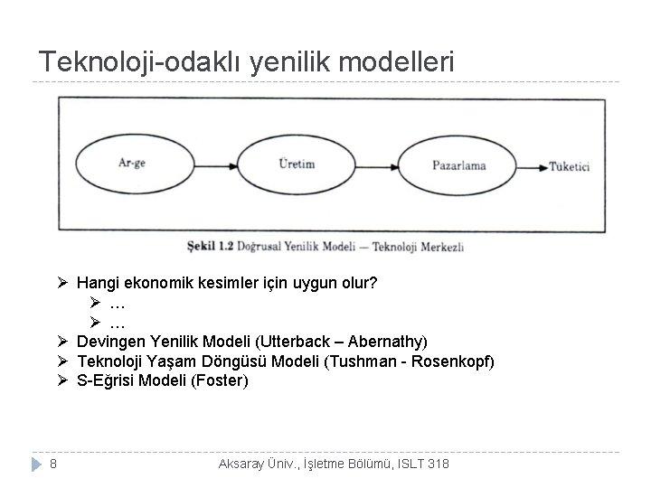 Teknoloji-odaklı yenilik modelleri Ø Hangi ekonomik kesimler için uygun olur? Ø … Ø Devingen