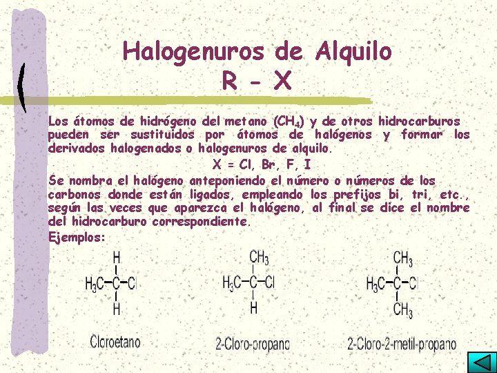 Halogenuros de Alquilo R - X Los átomos de hidrógeno del metano (CH 4)