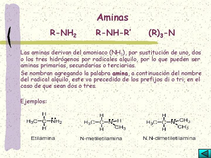 Aminas R-NH 2 R-NH-R' (R)3 -N Las aminas derivan del amoniaco (NH 3), por