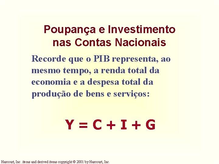 Poupança e Investimento nas Contas Nacionais Recorde que o PIB representa, ao mesmo tempo,