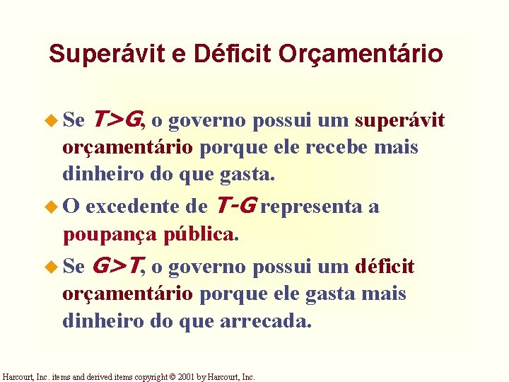 Superávit e Déficit Orçamentário u Se T>G, o governo possui um superávit orçamentário porque