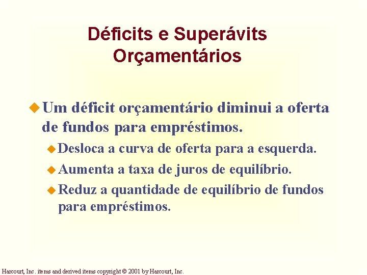 Déficits e Superávits Orçamentários u Um déficit orçamentário diminui a oferta de fundos para